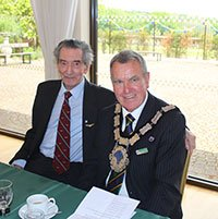 Chairman of the Guinea Pig Club Sam Gallop with Town Mayor Cllr Bob Mainstone