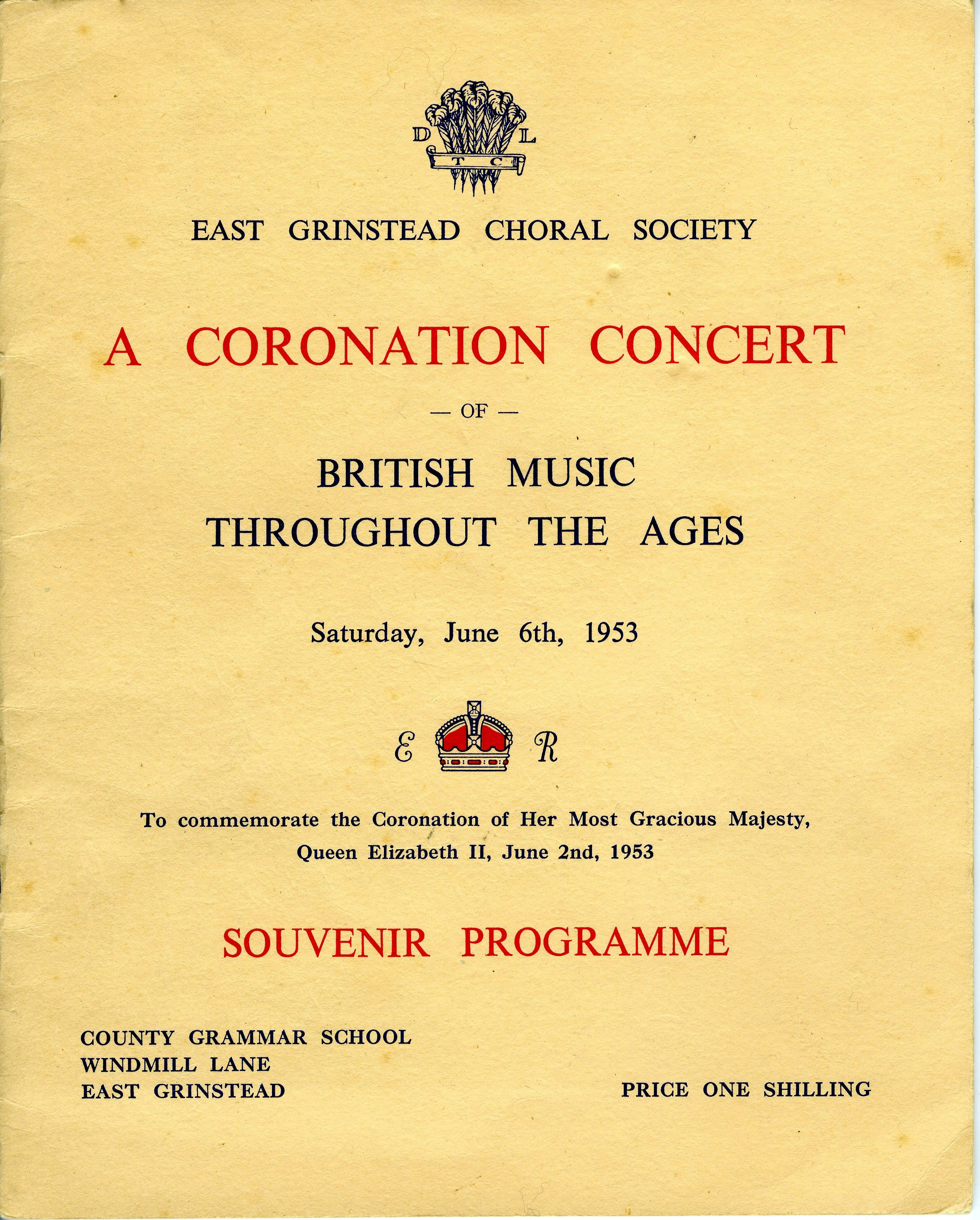 East Grinstead Museum – East Grinstead Choral Society Programme for the Coronation, 1953