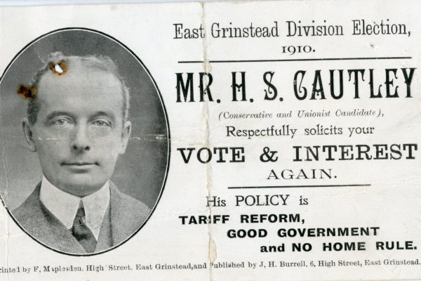 East Grinstead Museum - Solicitation card from Mr. H.S Cautley for the Conservative & Unionist Party