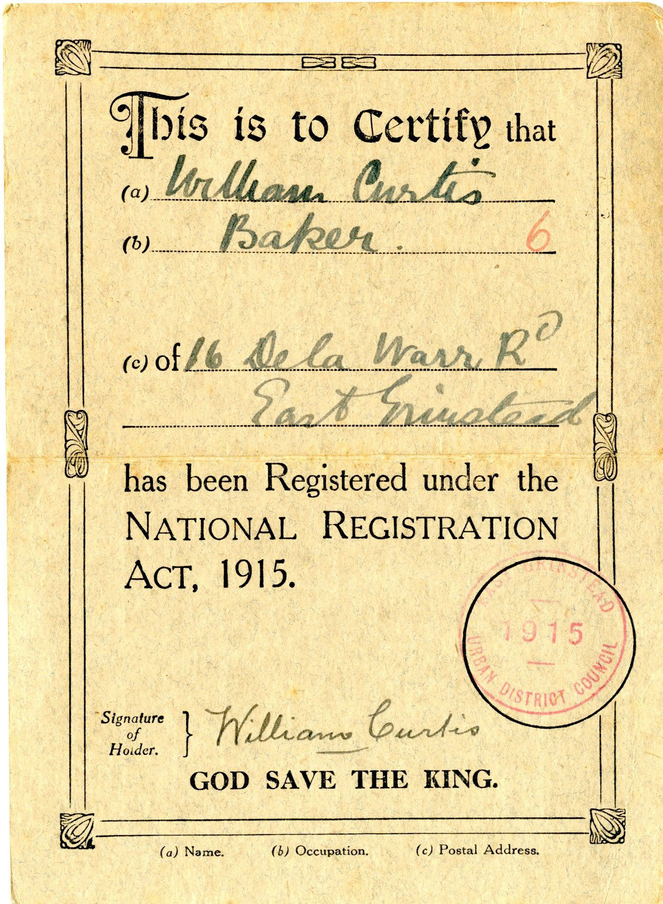 East Grinstead Museum – First World War identity ID card for William Curtis