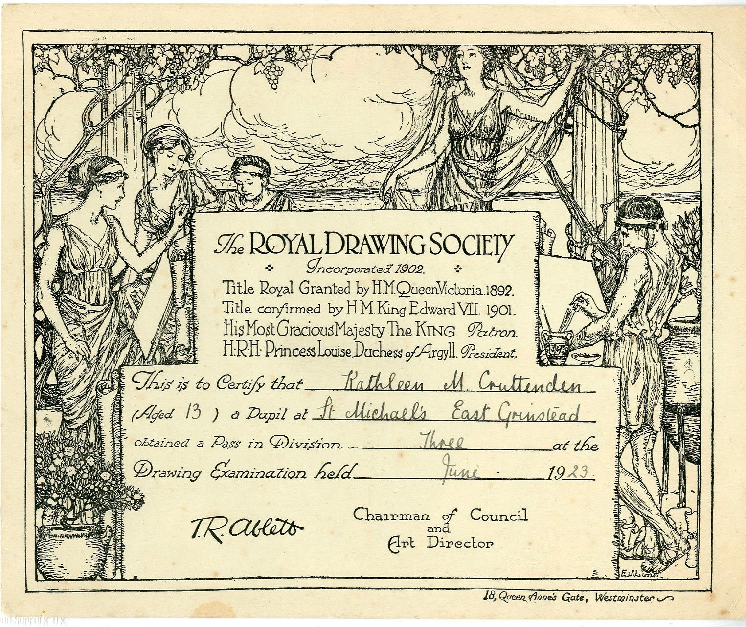 East Grinstead Museum – Royal Drawing Society Certificate for Kathleen M. Cruttenden