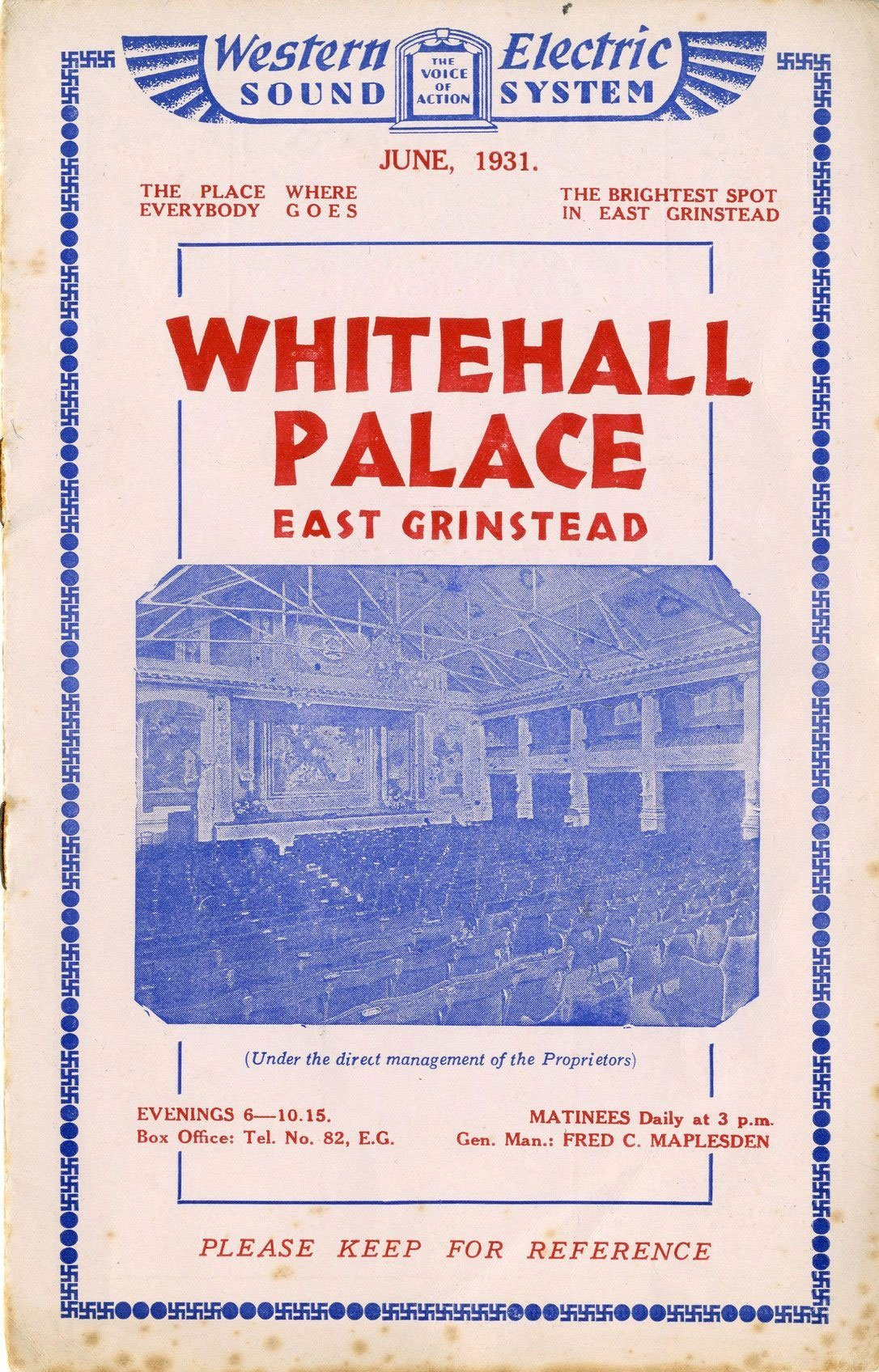 East Grinstead Museum – Whitehall Palace East Grinstead programme